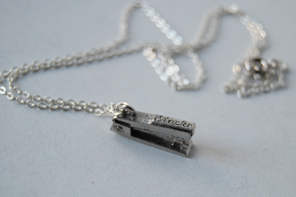 Pewter Stapler Necklace | Stapler Charm Necklace | The Office Jewelry - Enchanted Leaves - Nature Jewelry - Unique Handmade Gifts