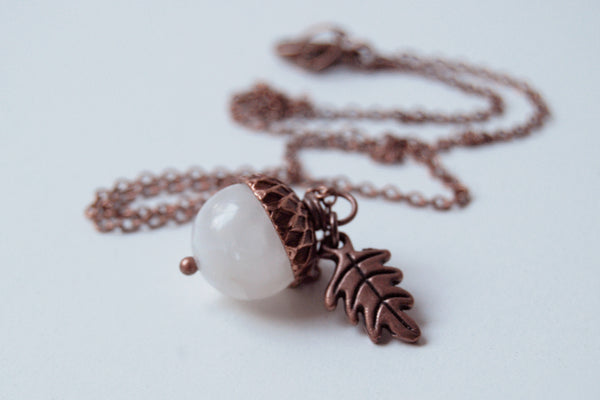 White Moonstone and Copper Acorn Necklace - Enchanted Leaves - Nature Jewelry - Unique Handmade Gifts