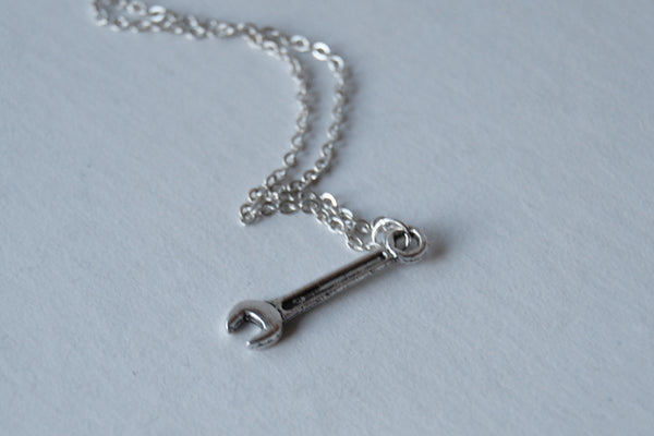 Tiny Silver Wrench Necklace - Enchanted Leaves - Nature Jewelry - Unique Handmade Gifts