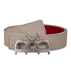 YVES BELT MEN BEIGE SILVER