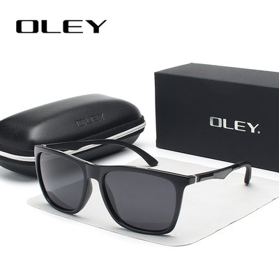 OLEY Classic aluminum magnesium TR90 polarized sunglasses men black fashion brand glasses color - CarGill Sells