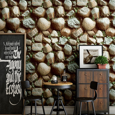 Vintage Rustic 3D Faux Stone Effect Wallpaper Roll For Walls Restaurant Living Room Wall Paper - CarGill Sells