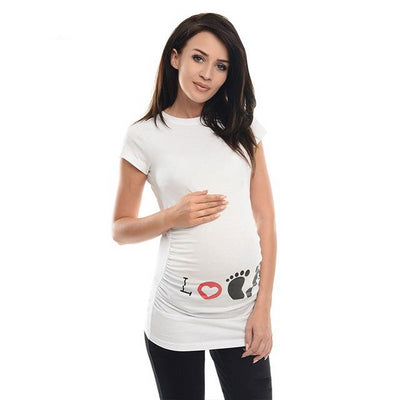 Wisefin Maternity Clothes Women Tops Short Sleeve Pregnant T Shirts Maternity Tee Summer - CarGill Sells