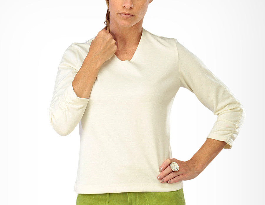 Ruched Sleeved V-Neck