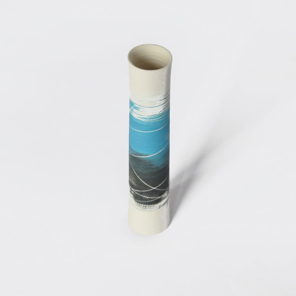 Two Tone Blue and Black Single Stem Porcelain Vase with white lines