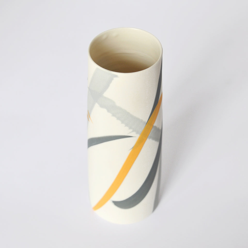 A  yellow and Grey splash  Porcelain Vase