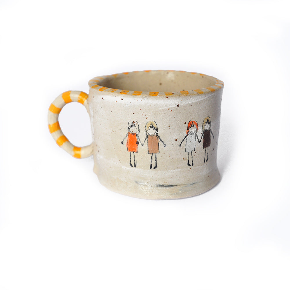 Mug with Girls and Yellow Stripes