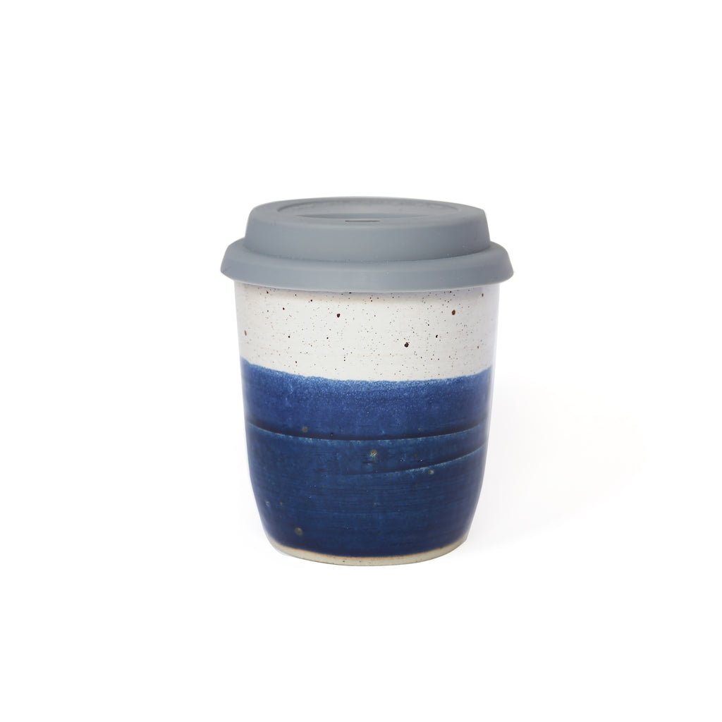 Midnight Blue and White Travel Mug