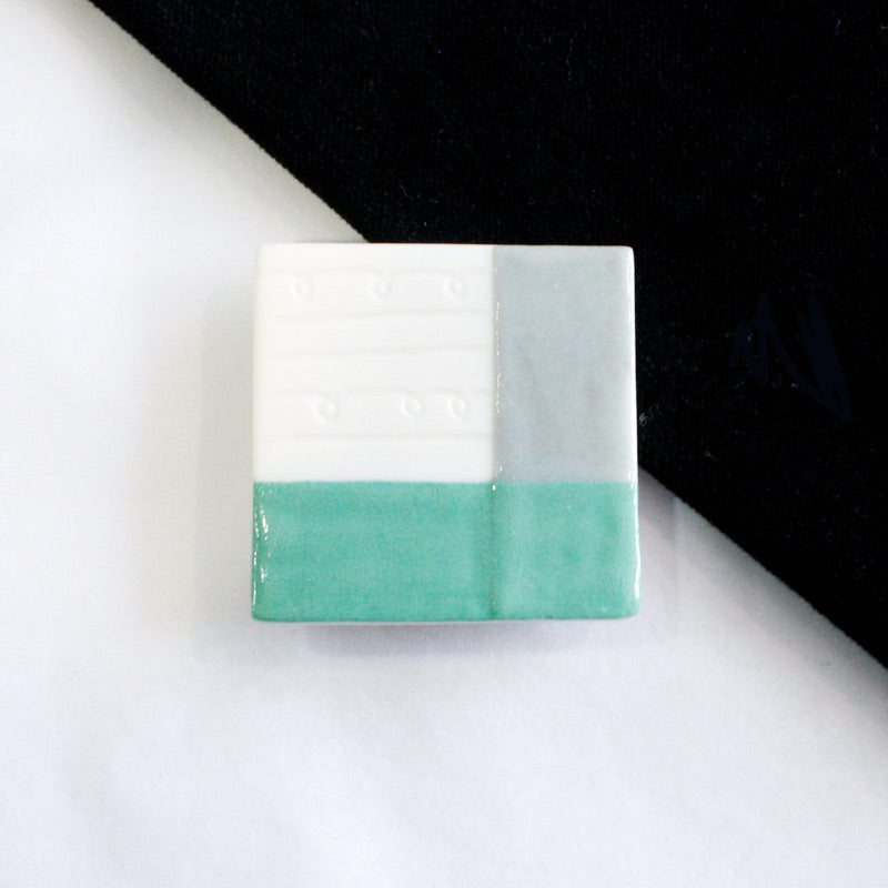 Square Mint Green Porcelain Brooch
