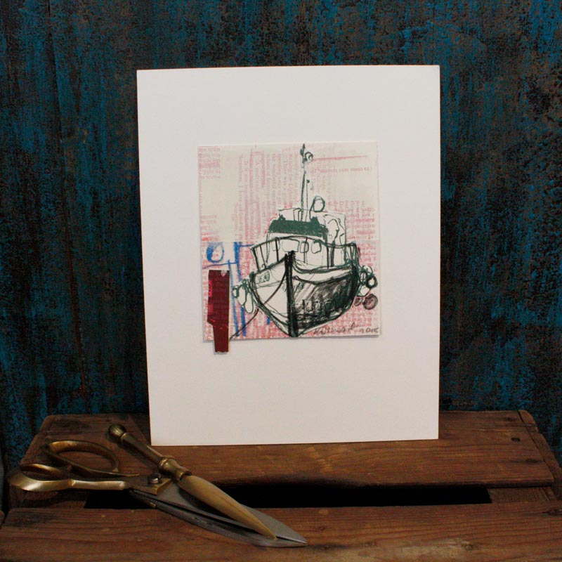 Collaged Boat Screen Print
