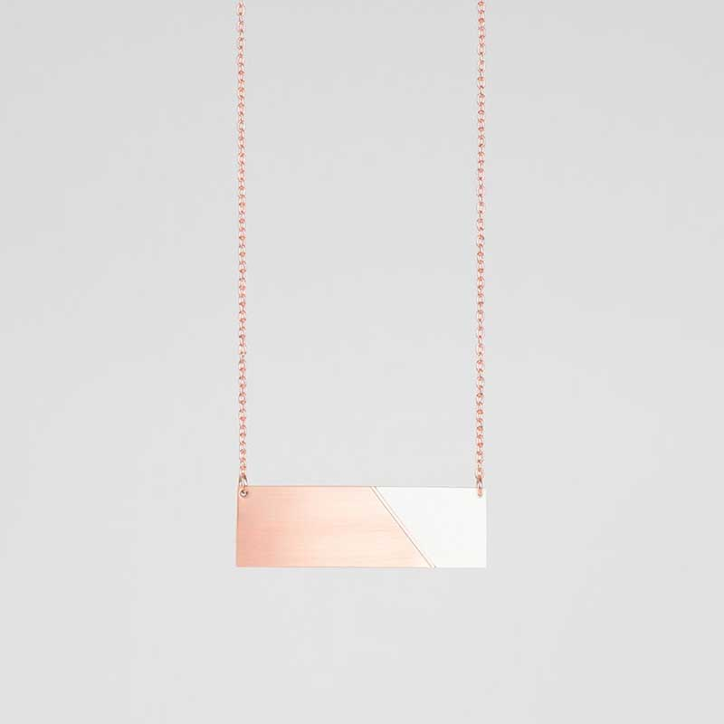 Form Bar Necklace Copper & Grey