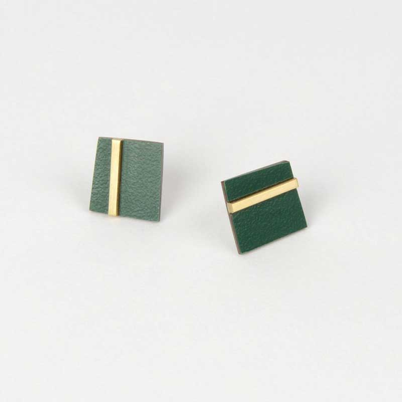 Form Square Earring - Brass Forest