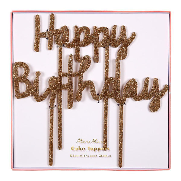 Happy Birthday Gold Acrylic Topper