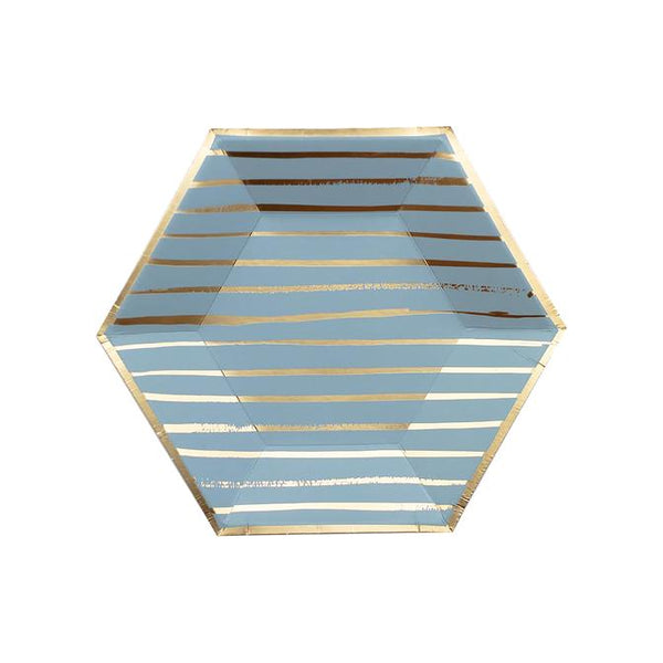 Blue Striped Plates Small