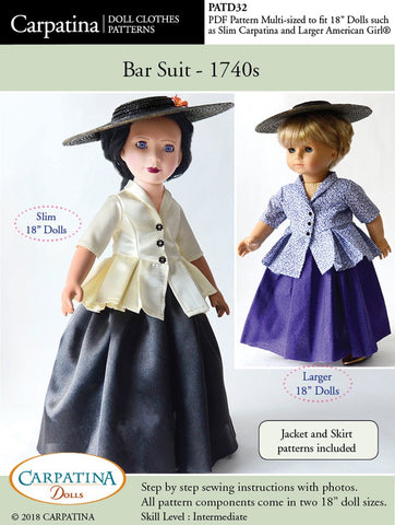 PDF sewing pattern 1740s bar suit designed to fit 18 inch American Girl and Carpatina dolls