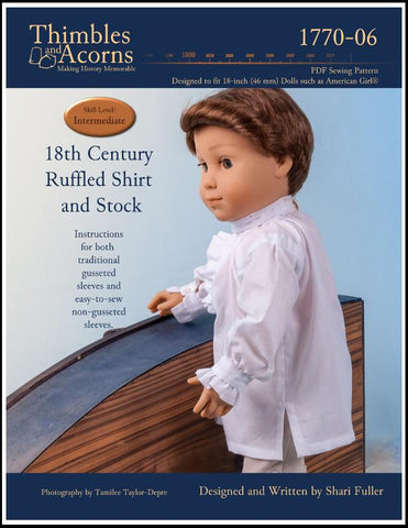 "18"" doll clothes pattern historical 18th century shirt designed to fit American Girl"