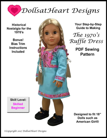 pdf doll clothes sewin pattern dolls at heart designs 1970s ruffle dress designed to fit 18 inch american girl dolls