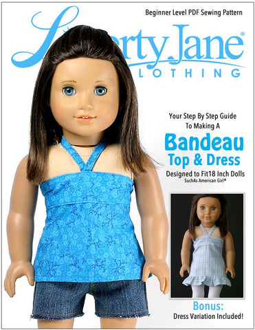 "Bandeau Top and Dress 18"" Doll Clothes Pattern"