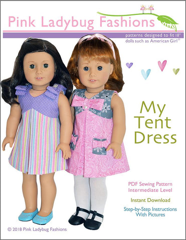 "pdf doll clothes sewing pattern tent dress designed to fit 18"" dolls such as American Girl"