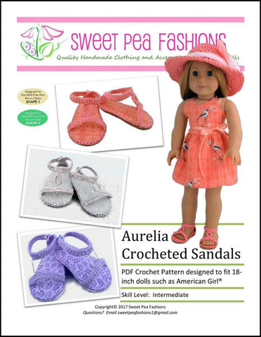 "Aurelia Crocheted Sandal 18"" Doll Crochet Pattern"