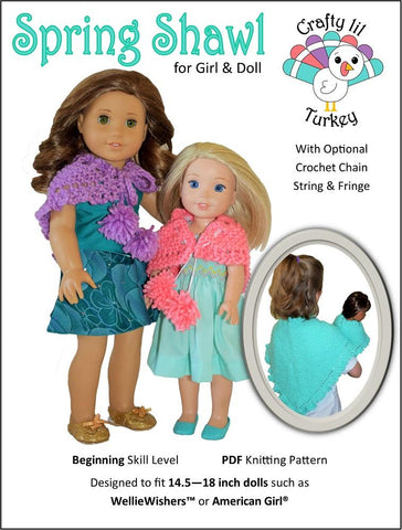"Spring Shawl 14"" - 18"" Doll Clothes Knitting Pattern"
