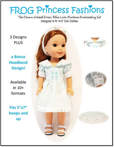 "Charm School Blue Lace Machine Embroidery Design Set For 14.5"" Doll Clothes"