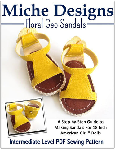 "Floral Geo Sandals 18"" Doll Shoe Pattern"