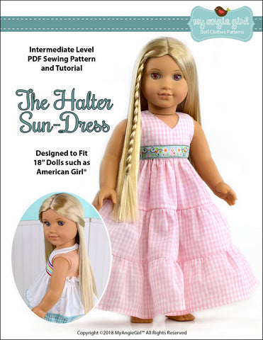 PDF doll clothes sewing pattern halter sun dress designed to fit American Girl