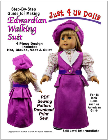 "Edwardian Walking Suit 18"" Doll Clothes Pattern"