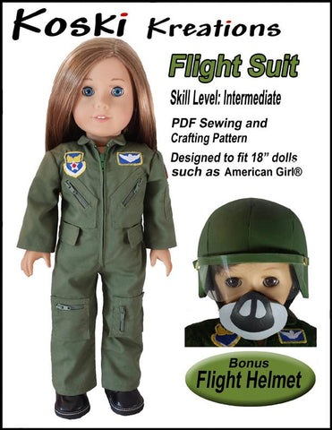 "Flight Suit 18"" Doll Clothes Pattern"