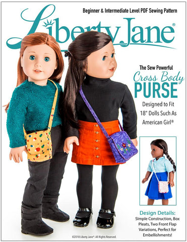 "Sew Powerful Cross Body Purse 18"" Doll Clothes Pattern"