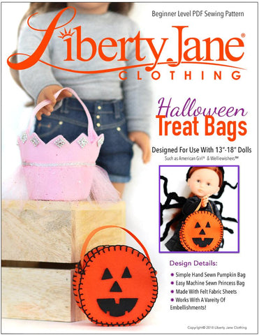 "Halloween Treat Bags 13"" - 18"" Doll Clothes Pattern"