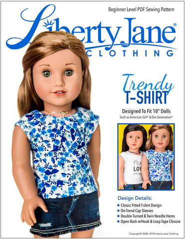 Free T-shirt 18 Inch Doll Clothes Pattern Liberty Jane Pixie Faire