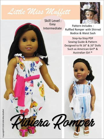 pdf doll clothes sewing pattern Little Miss Muffett Riviera Romper designed to fit 18 inch American Girl dolls and 20 inch Australian Girl Dolls