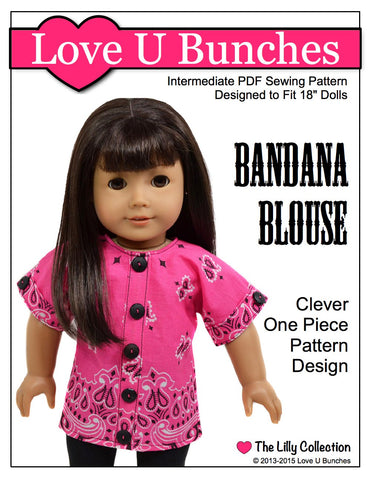 pdf doll clothes sewing pattern Love U Bunches Bandana Blouse designed to fit 18 inch American Girl dolls