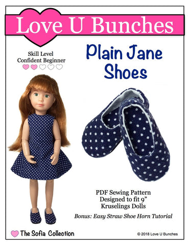pdf doll clothes sewing pattern Love U Bunches Plain Jane Shoes designed to fit 9 inch Kruselings dolls