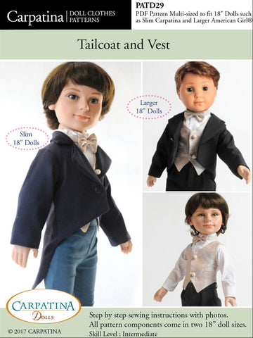 "Tailcoat and Vest Multi-sized Pattern for Regular and Slim 18"" Boy Dolls"