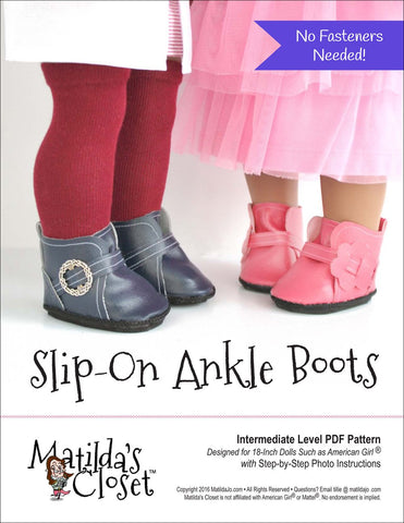 "Slip-On Ankle Boots 18"" Doll Shoes"