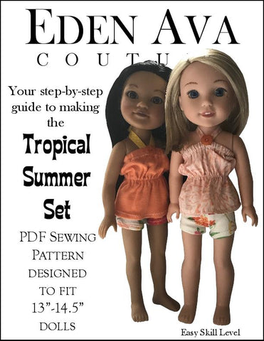 "Eden Ava Tropical Summer Set 14.5"" Doll Clothes Pattern fits Welliewishers"