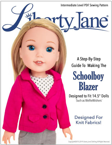 "Schoolboy Blazer 14.5"" Doll Clothes Pattern"