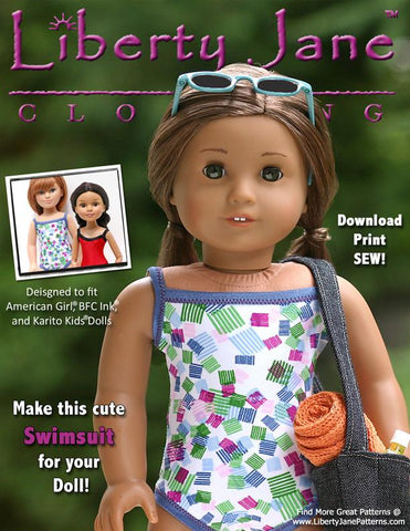 Free 18 inch doll clothes pattern swimsuit Liberty Jane