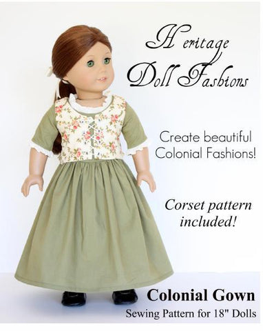 "1774 Colonial Gown 18"" Doll Clothes Pattern"