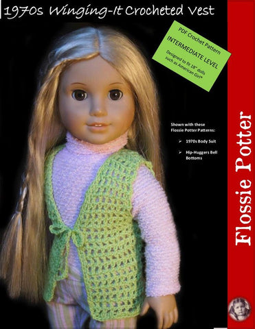 "1970s Winging-It Crocheted Vest 18"" Doll Crochet Pattern"