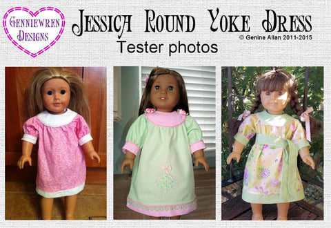 "Jessica Round Yoke Dress 18"" Doll Clothes Pattern"