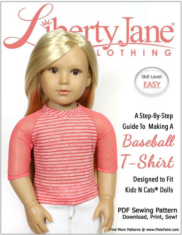 Liberty Jane Baseball Tee Doll Clothes Pattern for Kidz N Cats