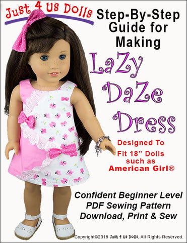 PDF doll clothes sewing pattern lazy daze dress designed to fit 18 inch American Girl Dolls