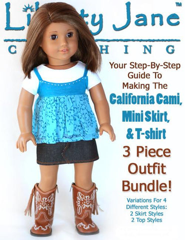 Liberty Jane 18 inch Doll Clothes Pattern Cami and Mini Skirt