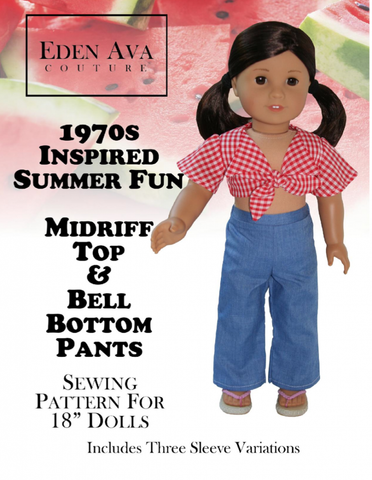"1970's Midriff Top and Bellbottom Pants 18"" Doll Clothes"