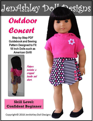 JenAshley Doll Design pdf doll clothes sewing pattern Outdoor concert skort and cropped hoodie designed to fit 18 inch American girl dolls