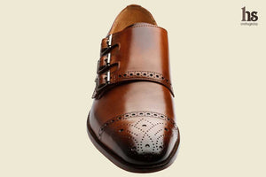 Toecap Triple Strap Brogue Monk– Tan